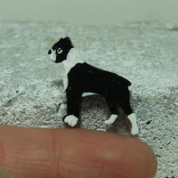 Boxer Black and white dog MINI magnet Handmade pottery magnet Tiny animal