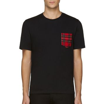 Ami Alexandre Mattiussi Black And Red Contrast-pocket T-shirt
