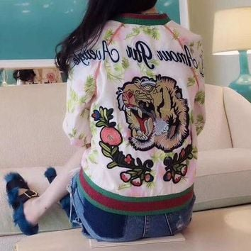 ONETOW Gucci' Women Fashion Multicolor Letter Flower Tiger Head Embroidery Long Sleeve Zip Cardigan Baseball Clothes Jacket Coat
