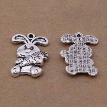 Daisies 100pcs 15*20mm Antique Silver Rabbit Bunny&Carrot Easter Charms Metal Pendants for Diy Jewelry Findings