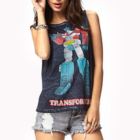 FOREVER 21 TransformersTM Muscle Tee Navy/Red Small