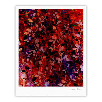 "Ebi Emporium ""Amongst the Flowers - Summer Nights"" Red Black Fine Art Gallery Print"