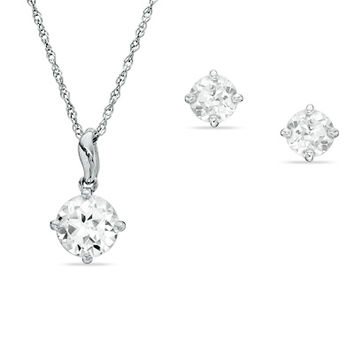 Lab-Created White Sapphire Pendant and Earrings Set in Sterling Silver