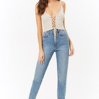 Ribbed Lace-Up Crop Cami