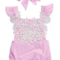 Beautiful, Baby Girls Pink, Floral Lace Romper