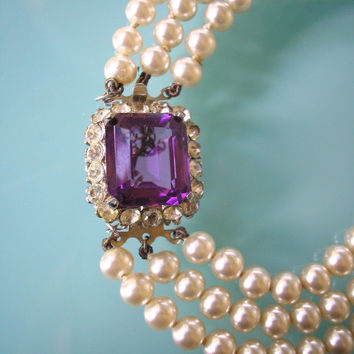 Amethyst and Pearl Necklace, Purple Bridal Choker, Great Gatsby, Art Deco, Rhinestone Necklace, Wedding Jewelry, Bridal Necklace