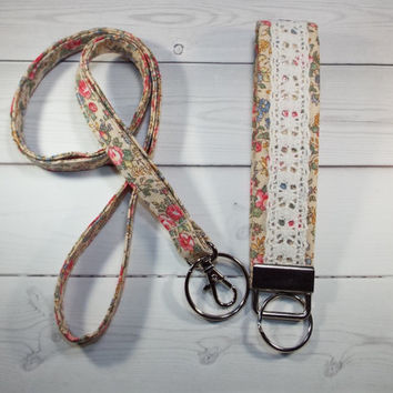 Skinny floral Lanyard id Badge Holder and lace keychain key fob - Lobster clasp and key ring Thinner Design - vintage inspired floral