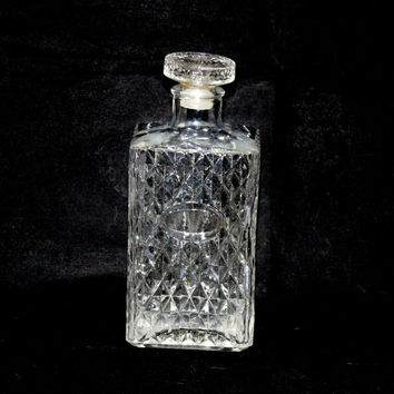 Vintage Liquor Decanter , Decorative Glass Bottle , Clear Pressed Glass Diamond Pattern Decanter , Mid Century Mod MCM Liquor Bottle