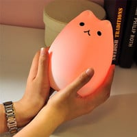 Cat Light Color Changing Silicone Cat Night Lights Bedside Lamp 2 Modes Children Cute Night Lamp Christmas Bedroom Light
