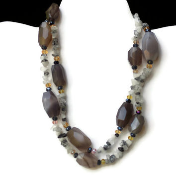 Long Chunky Semipresious Gray Agate Statement Necklace/ Formal Natural Smoky Gray Agate Clear Black Rutilated Quartz Necklace/ OOAK Unique