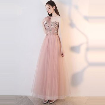 Bridesmaids Dresses Strapless Sleeveless Lace A-Line Tulle Flower Formal Dress