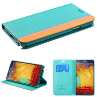 Book-Style Premium Wallet Case for Galaxy Note 3 - Blue/Pink/Yellow