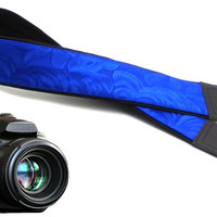 Blue camera strap. DSLR / SLR camera strap. Photo camera accessories for Nikon, Canon, Sony, Panasonic and other cameras.