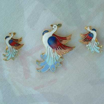Bird of Paradise Pin Clip Earrings SET Vintage Figural Jewelry