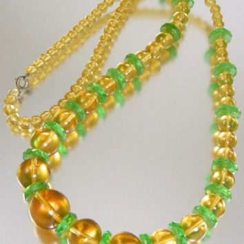 Amber Glass Bead Art Deco Necklace with RARE Green Carved Czech Glass Spacers 1920s Vintage Jewelry SUMMER SALE