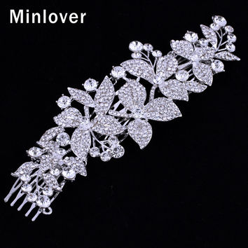 Minlover Silver Color Austrian Crystal Bridal Hair Combs for Women New Large Leaf Shape Hairpin Rhinestone Wedding Jewelry FS044