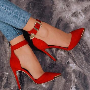 Red Suede Leather Pointy Toe Pumps Carved Gold Buckles High Heels Shoes
