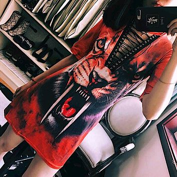 Personality Fashion Tiger Print Crisscross Bandage Deep V Short Sleeve Middle Long Section T-shirt Dress