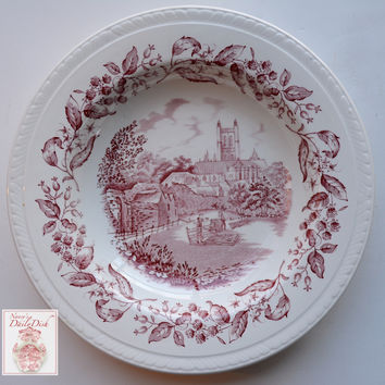 Vintage Red Transferware Shallow Bowl / Deep Plate Blackberry Border English Equestrian Scene Hurdle Making