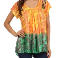 Sakkas A1051 Lisa Embroidered Ombre Blouse - Peach - One Size