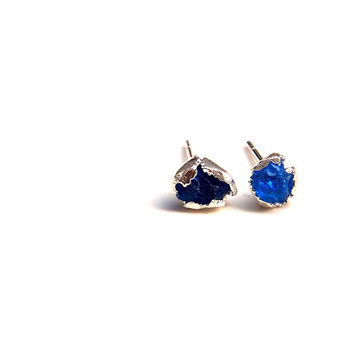 Royal blue Hauyne earrings, ethically sourced rare electric bright azure blue gemstone from Germany