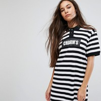 Charms Polo T-Shirt Dress With Logo In Bold Stripe at asos.com
