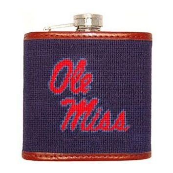 Ole Miss Needlepoint Flask in Navy by Smathers & Branson