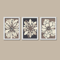 Beige Tan Black Cream Flower Burst Outline Dahlia Floral Bloom Artwork Set of 3 Prints WALL Decor Abstract ART Bedroom Bathroom