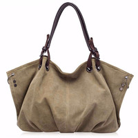 Large Capacity Casual Canvas Hobos Hand Bag