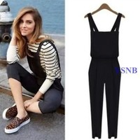 Black Women Casual Harem Trousers Romper Jumpsuit Cross Suspender Pants Overalls