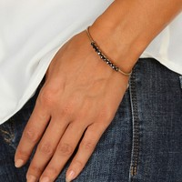 Promo-gold And Charcaol Wire Faceted Stone Cuff