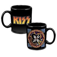 Vandor 87261 KISS Ceramic Mug, Black, 12-Ounce