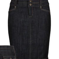 Contrast Stitch Denim Pencil Skirt - Dark Rinse