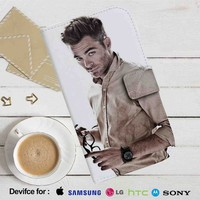 Chris Pine Leather Wallet iPhone 4/4S 5S/C 6/6S Plus 7| Samsung Galaxy S4 S5 S6 S7 NOTE 3 4 5| LG G2 G3 G4| MOTOROLA MOTO X X2 NEXUS 6| SONY Z3 Z4 MINI| HTC ONE X M7 M8 M9 CASE