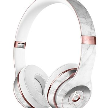 White Scratched Marble DesignSkinz Full-Body Skin Kit for the Beats by Dre Solo 3 Wireless Headphones / Ultra-Thin / Matte Finished / Protective Skin Wrap