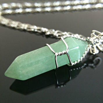 Crystal Necklace - Green Aventurine Wire Wrapped Crystal on Sterling Silver Chain or Leather Zelda Necklace