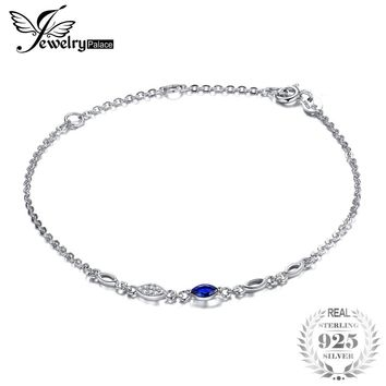 JewelryPalace Exquisite 0.19 ct Marquise Created Blue Spinel Bracelets Real 925 Sterling Silver Charms Women Trendy Fine Jewelry