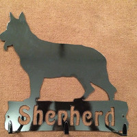 German Shepherd leash holder key rack