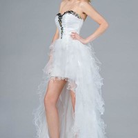 PRIMA C132001 White or Hot Pink High Low Prom Dress