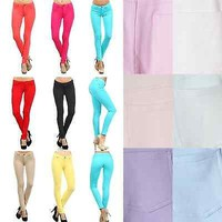 Slim Fit Cotton Solid COLORED Jeggings Ankle Stretch SKINNY PANTS