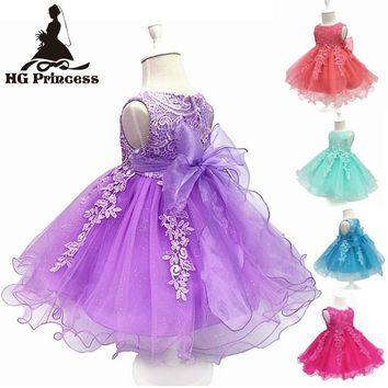 Free Shipping Cotton Lining 3M-18M Infant Dresses 2017 New Arrival Lace Top Baby Dress For 1 Year Girl Birthday Christening Gown
