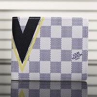 LV Man Leather Tartan Purse Wallet