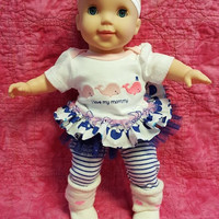 "15 inch baby doll clothes  ""Whale Tales"" 15 inch baby doll outfit pink blue nautical twins option N7"