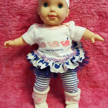 """15 inch baby doll clothes  """"Whale Tales"""" 15 inch baby doll outfit pink blue nautical twins option N7"""