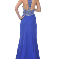 Royal Chiffon Beaded Empire Waist Halter Low Back Prom Gown - Unique Vintage - Cocktail, Pinup, Holiday & Prom Dresses.