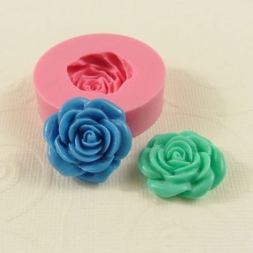 Rose Flower Mold Cabochon Mould (21mm) for Crafts Jewelry Scrapbooking resin pmc polymer clay mold (212)