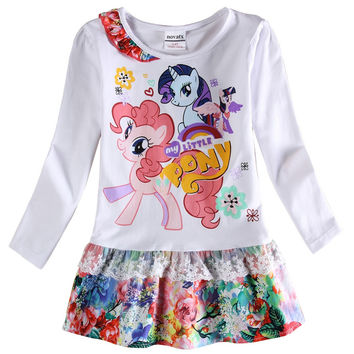 girls clothes girls dress casual princess dresses for girls printed cartoon my littles pony long sleeve nova kids clothing F6616