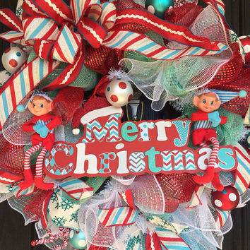 Merry Christmas deco mesh wreath, Christmas Deco mesh wreath, deco mesh christmas wreath,holiday wreath, Elf deco mesh wreath, elf wreath