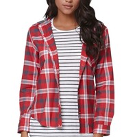 LA Hearts Hooded Button Down Plaid Shirt - Womens Shirts