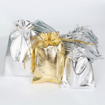10pcs Drawstring Bags Wedding Gift Bag Boxes Soft Jewellery Pouches Small Gift Bag For Wedding Favors Gold Silver Color #11030